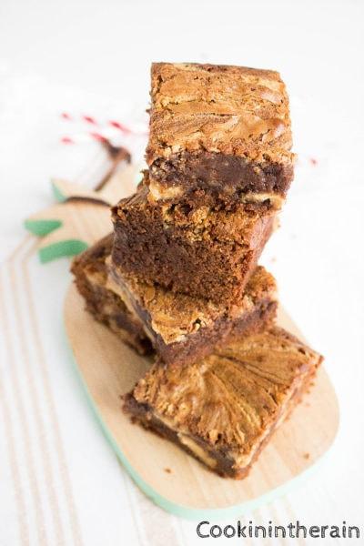 shooting des brownies chocolats et beurre de cacahuètes