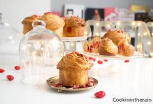 table de brioches feuilletées aux pralines roses