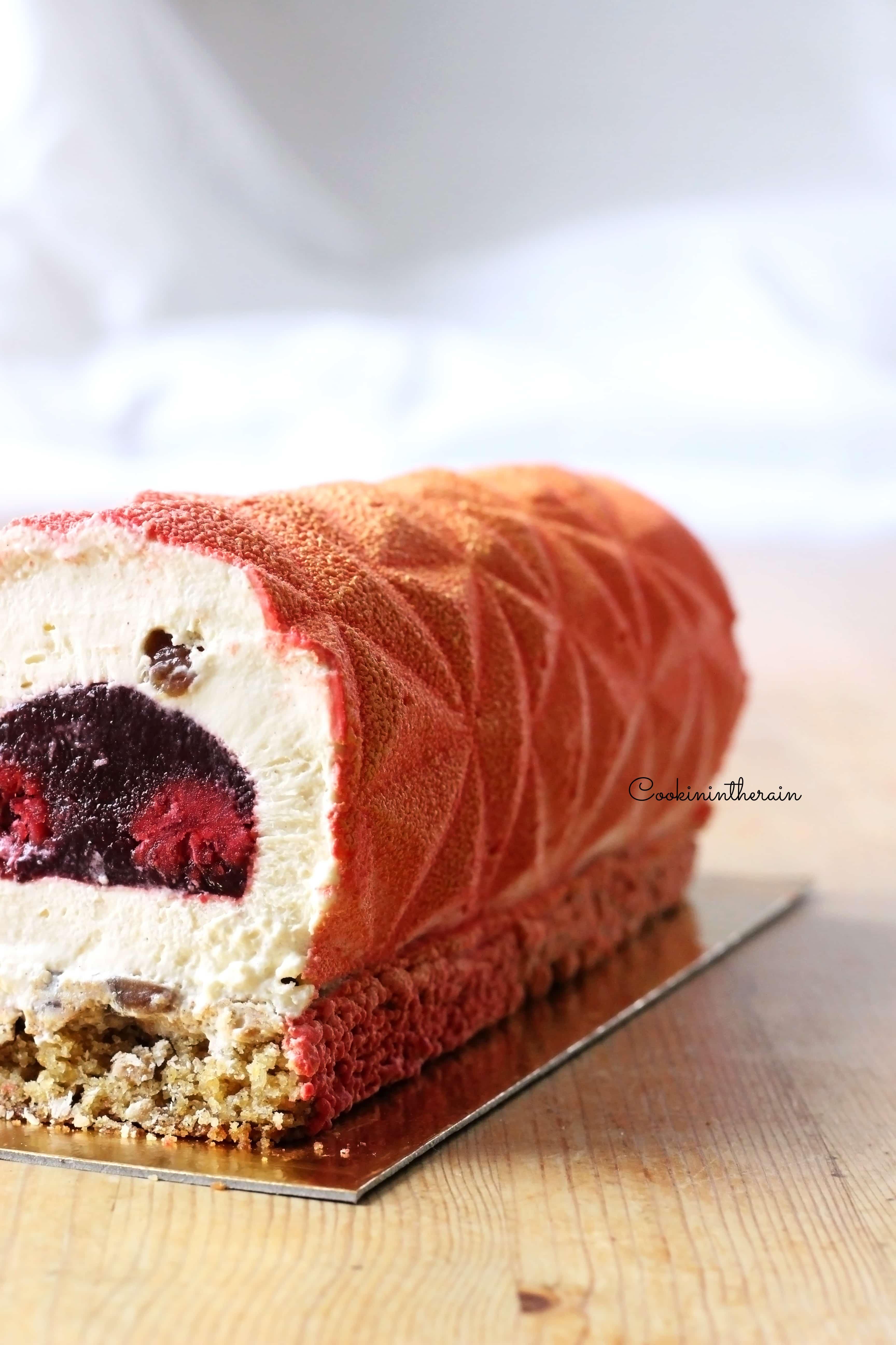 Bûche marron framboise - Cookinintherain