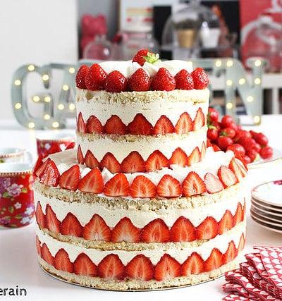 Le mini fraisier wedding cake de Hugo et Victor