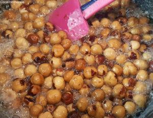 noisettes après ajout dans le sirop à 110°C