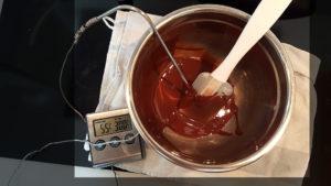 chocolat noir fondu à 55°C