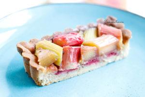part de tarte à la rhubarbe et framboise maison
