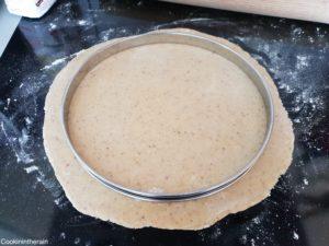 cercle de 26cm sur pâte abaissée à 2mm
