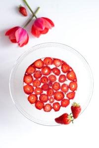 Vue du dessus du fraisier